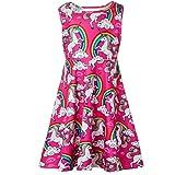 Funnycokid Grils Rainbow Unicorn Print Dress Sleeveless Loose Midi Dresses 4-5 T (Color: A Rainbow Unicorn, Tamaño: 4-5 T)