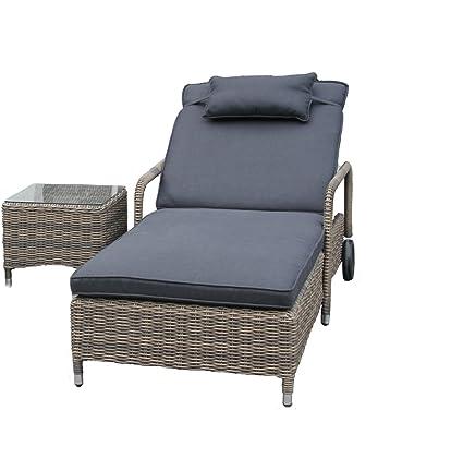 LuxuryGarden–1lettini Prendisole tamaño Color 171/200x 74x 30h 1mesa baja de rattan Andresa Muebles de jardín de exterior muebles piscina
