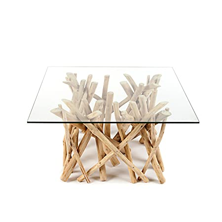 Design Teakholz Couchtisch DRIFTWOOD mit Glasplatte eckig Tisch Treibholz Holztisch