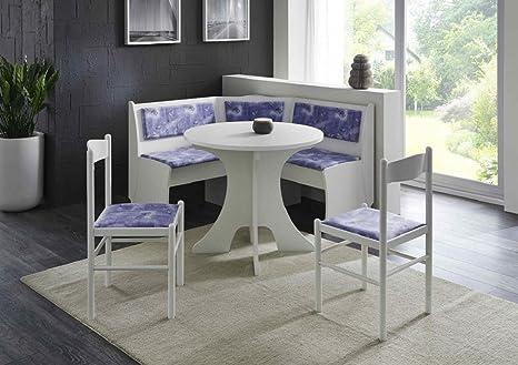 Dreams4Home Eckbankgruppe 'Wolfgang', Essgruppe 125 x 125 x 82 cm, Rundtisch, 2 Stuhle, modern, Eckbank, Kuchentisch, 4-teilig Landhaus Kuche, Polsterung blau weiß gemustert, weiß