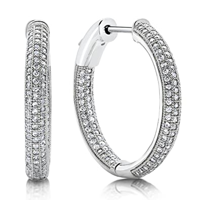 Large Multi Row Hoop Earrings Signity CZ on Solid Sterling Silver