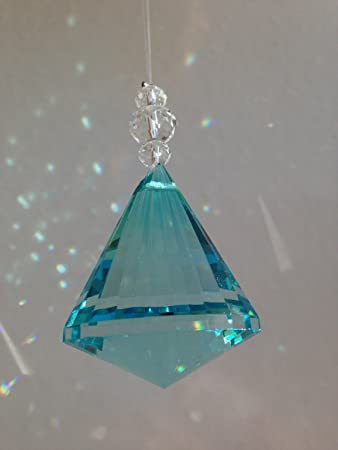 10pcs Teal Suncatcher Multifaceted Hanging Crystal Prism Glass Diamond Lighting Pendants