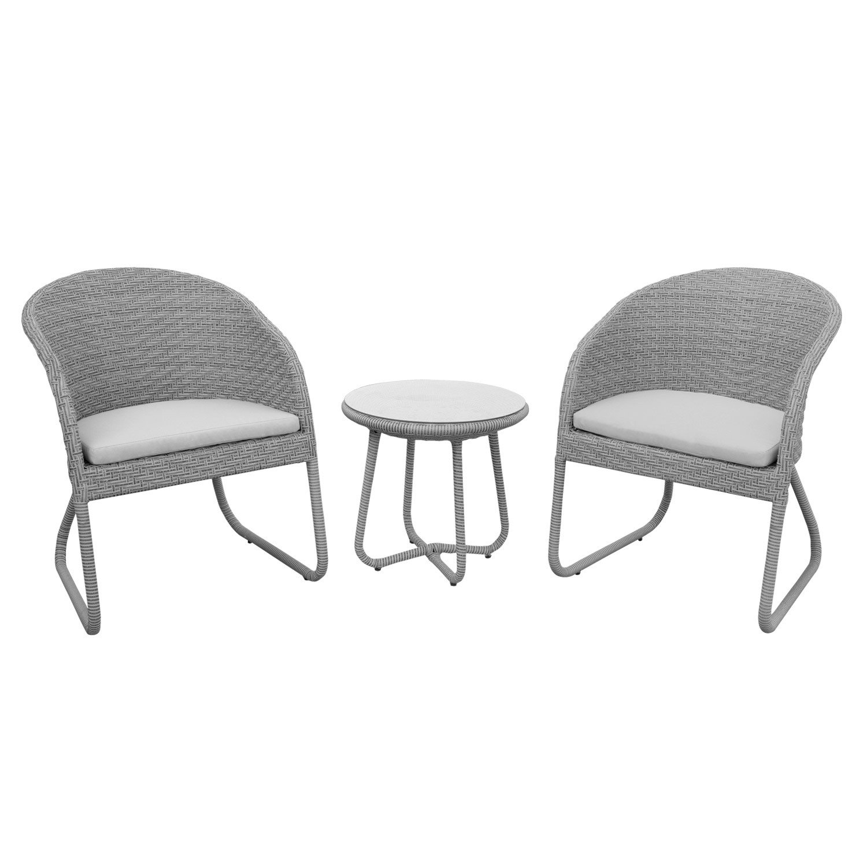 anndora® Susila Rattan Sitzgruppe Balkon Gartenmöbel 2 Stühle mit Kissen + Tisch Grau