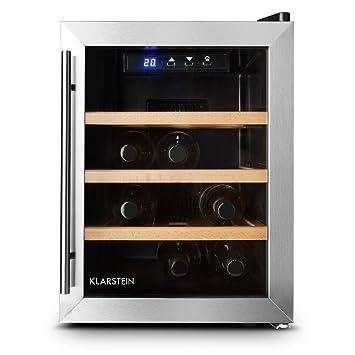 Klarstein Reserva 12 Uno cantinetta vino minifrigo con 3 ripiani CLASSE A+ (minibar eco, 33 litri, 12 bottiglie, ripiani in legno, porta in vetro con doppio isolamento, illuminazione interna LED) - silver