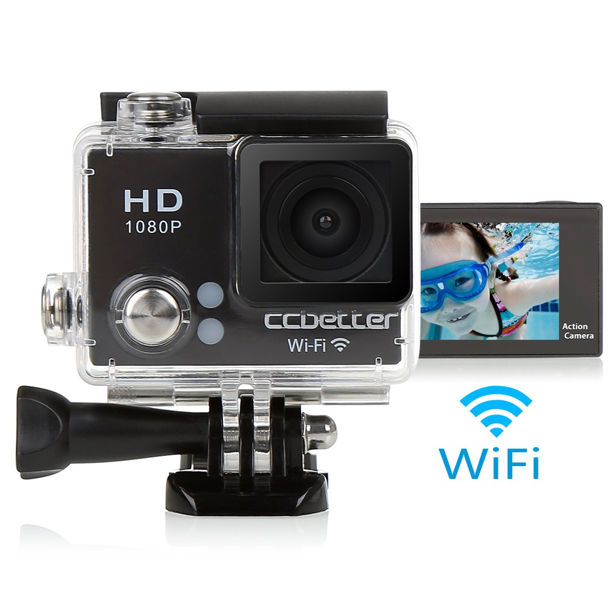 CCbetter ® 2.0 Inch Screen Wifi Hd 12mp 1080p Sports Action Camera 120 Degree Waterproof Diving Camcorder Skating Diving Video Dvr Recorder Color Black