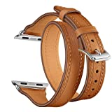 Elobeth iWatch 40mm 38mm Genuine Leather Band Double Wrap Slim Bracelet Strap Metal Buckle Designed Thread Compatible iWatch 40mm 38mm Series 4/3/2/1, Double Tour Brown (Silver Buckle) 40/38mm (Color: Brown/Silver Buckle)