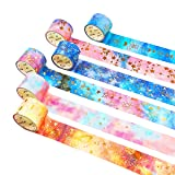 Washi Tape Set Masking Tape Roll Rainbow Japanese Writable Washi Paper 6 Rolls for Kids DIY Gift Wrapping with Colorful Design and Patterns (Galaxy) (Color: Galaxy)