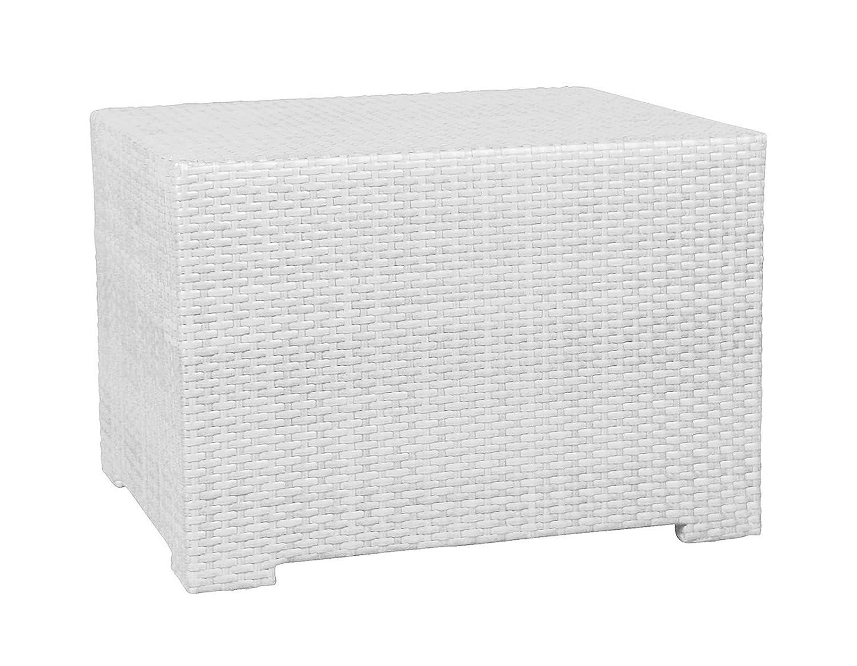 Gastronomie Rattan Garten Tisch 120x60 cm Gartentisch Garten Beistelltisch Möbel weiß