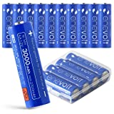 enevolt AA Rechargeable Batteries High-Capacity 3000mAh Ni-MH 1,000 Recharge Cycles and Low Self-Discharge, Pre-Charged - 16 Pack (Color: Blue, Tamaño: AA 3000mAh | 16 Pack)