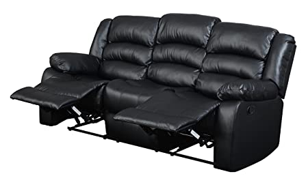 Glory Furniture G943-RS Reclining Sofa, Black