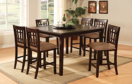 NEW Central Park Dark Cherry 7 Pieces Wood Counter Height Table Set Chairs with Removable lazy susan
