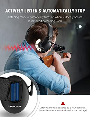 Mpow Shooting Ear Protection, Professional Electronic Earmuffs with Listening Mode, 22dB NRR Ear muffs with Adjustable Headband, Noise Cancelling headphones for Shooting, Hunting, Construction, Mowing (Color: Black)