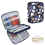 Teamoy Organizer Case for Interchangeable Circular Knitting Needles, Crochet Hooks and Knitting Accessories, Keep All in One Place and Easy to Carry, Cats Blue (No Accessories Included) (Color: Cats Blue, Tamaño: Small)