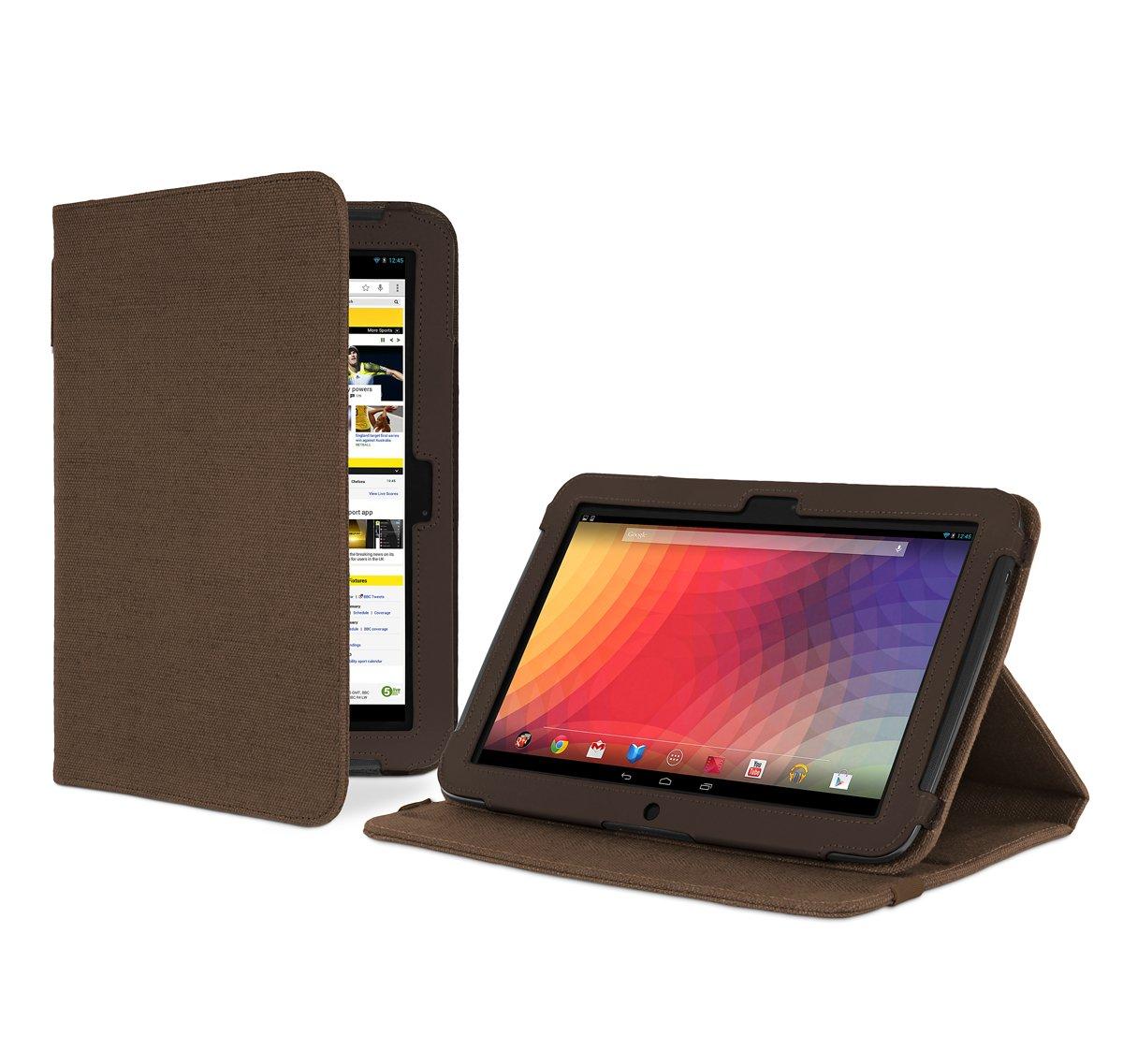 Cover-Up - Funda con función de atril para Google Nexus 10 (cáñamo, función de apagado y suspensión automática), color marrón  Informática Más información y revisión del cliente