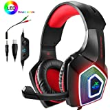 PS4 Headset,Xbox One Headphones,Gaming Headset LED Light,Stereo Gamer Headphones,3.5mm Wired Over-Ear Noise Isolating Microphone Volume Control Mac(Black-Red) (Color: Black-Red)