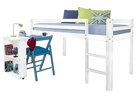 Cabin Bed with Desk in White & Mattress, DESK-NT -WHITE+MATTRESS