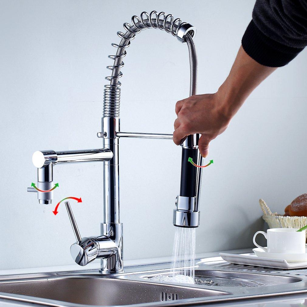 Auralum® Hochdruck Spiralfederarmatur für die Profiküche Küchenarmatur Spiral Hochdruck Armatur mit 2 Wasserabfluß   Kritiken und weitere Informationen