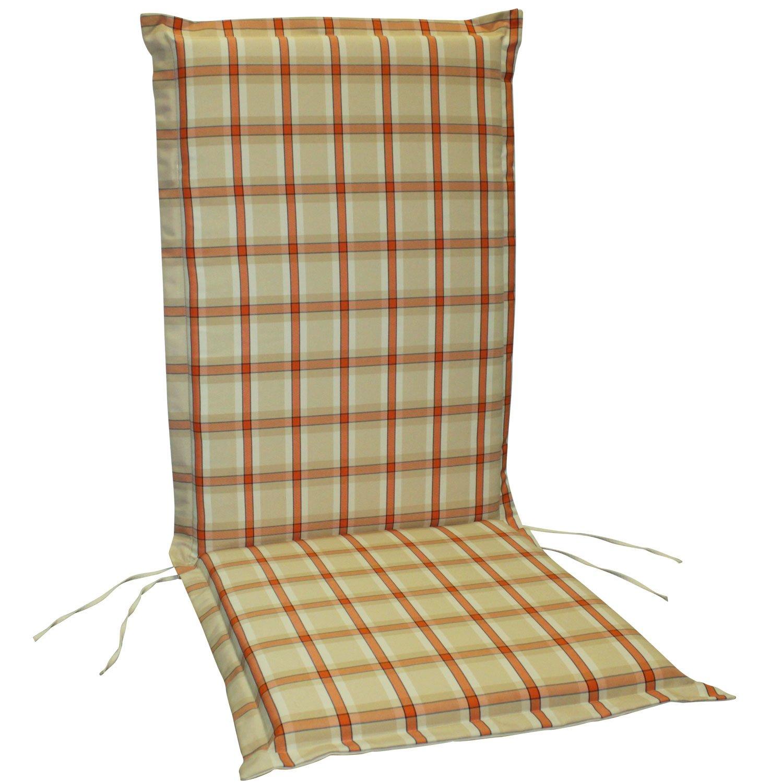 indoba® IND-70410-AUHL-6 - Serie Comfort - Gartenstuhl Auflagen - Hochlehner, Orange, kariert, 6 Stück