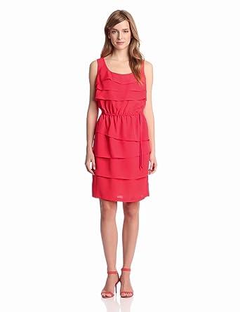 Gabby Skye Women's Tiered Ruffle Dress, Orange, 10 Missy