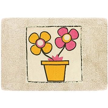 tapis de salle de bain pot de fleur pop art jaune rose d co zen cuisine maison poussien101. Black Bedroom Furniture Sets. Home Design Ideas