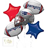 Andaz Press Balloon Bouquet Party Kit with Gold Cards & Gifts Sign, Patriots Football Themed Foil Mylar Balloon Decorations, 1-Set (Color: Sports Patriots)