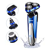 Electric Razor Shaver for Men 4D Floating Cutter Rechargeable 4 in 1 Rotary Shaving Machine Beard Nose Hair Face Trimmer Cordless Waterproof Wet and Dry Grooming Set by HOMEASY