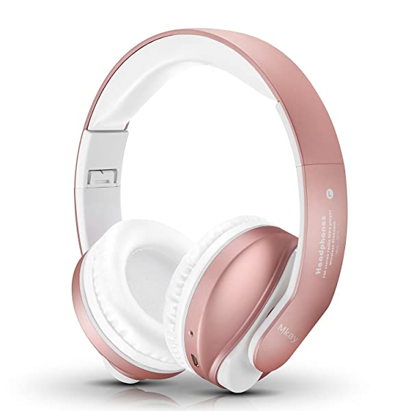 Bluetooth Headphones Over Ear, Mkay Stereo Wireless Headset with Microphone, TF Card and FM Radio for Cellphones Laptop TV (Rose Gold)