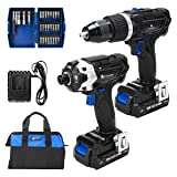 20V Max Hammer Drill and Impact Driver Combo Kit, PROSTORMER Cordless Drill Driver/Impact Driver with 2Pcs 2.0Ah Lithium-Ion Batteries, Charger Kit, 29pcs Accessories and Tool Bag