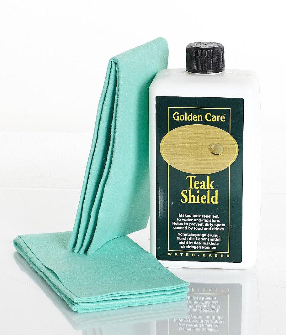 GOLDEN CARE Teak Shield + 2 Applikatortücher Fleckenschutz Holzschutz Holzpflege für Gartenmöbel bestellen