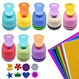 GeeVen 8 Pieces Paper Punchers Craft Holes Punch Scrapbook Punches 10 Sheets Glitter Sticker Paper, Round, Star, Heart, Rose, Wave Circe, Crown, Sunflower Shape for Kids Party Favors