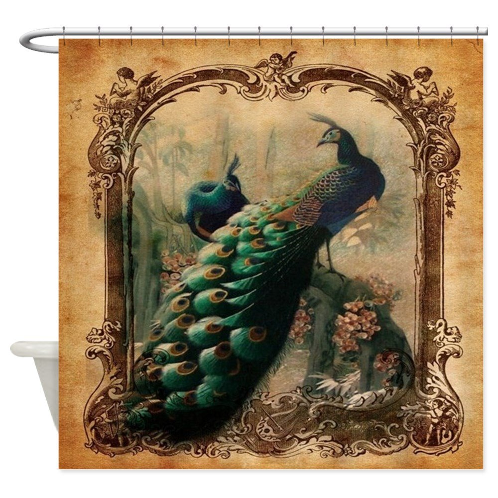 CafePress - Romantic Paris Vintage Peacock - Decorative Fabric Shower Curtain 0