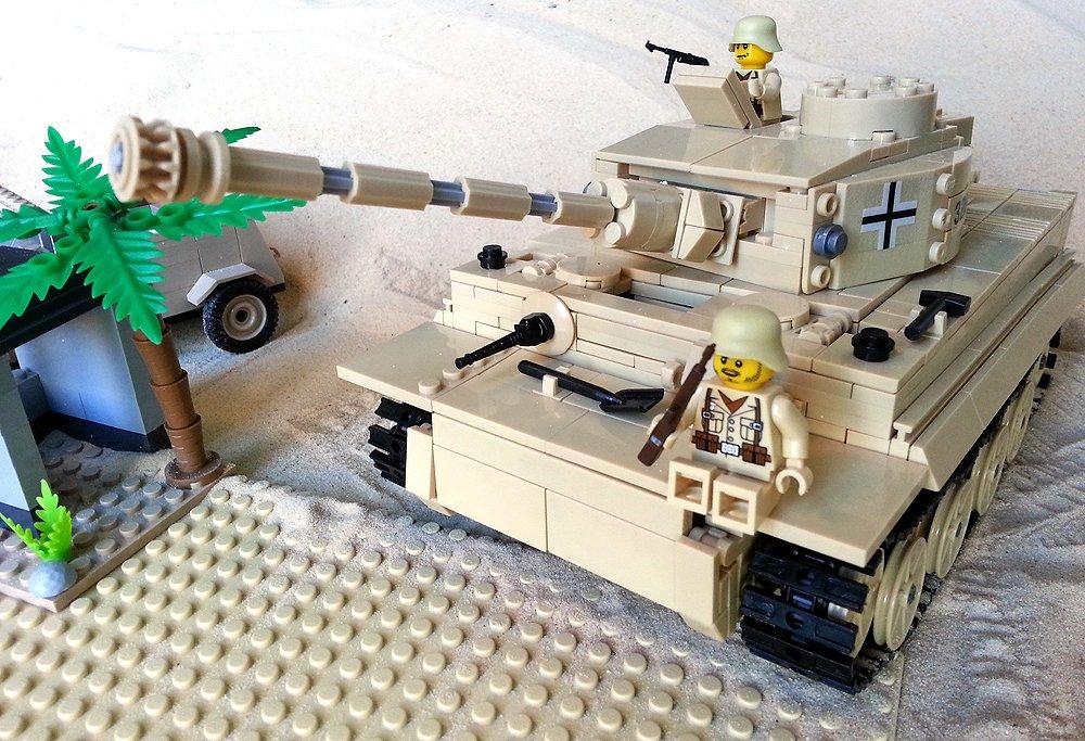 Modbrix 82011- ✠ Bausteine Tiger Panzer Afrika Korps, 900 Teile, inkl. custom Wehrmacht Soldaten aus original Lego© Teilen ✠ günstig bestellen