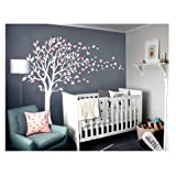 LUCKKYY Tree Blowing in The Wind Tree Wall Decals Wall Sticker Vinyl Art Kids Rooms Teen Girls Boys Wallpaper Murals Sticker Wall Stickers Nursery Decor Nursery Decals (White +Pink) (Color: Light White Purple+pink)