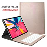 Keyboard Case for iPad Pro 12.9 2018 (3rd Generation), Business Flip Folio Leather Magnetic Kickstand Smart Cover with Detachable Keyboard[Support Pencil Charging] (iPad Pro 12.9 2018, Rose Gold) (Color: Rose Gold, Tamaño: iPad Pro 12.9 2018)