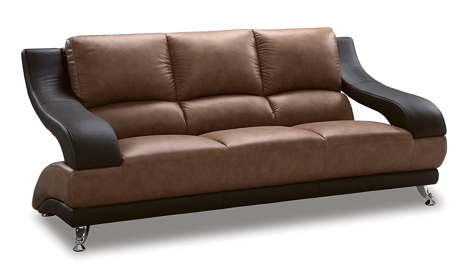 Global Furniture Wyatt Collection Leather Matching Sofa - Brown and Dark Brown