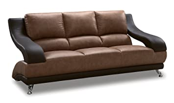 Global Furniture Wyatt Collection Leather Matching Sofa, Brown and Dark Brown