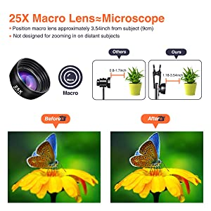 PJ-Since Phone Camera Lens kit 12X Zoom Telephoto Lens+210/° Fisheye Lens+25X Macro Lens+120/°Wide Angle Lens+ Selfie Stick Tripod with Wireless Remote for iPhone Pixel and More Samsung