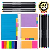 Large and Small Sticky Notes Set with Fineliner Color Pens Set- 60 Ruled Lined Notes 4x6, 48 Dotted Notes 3x4, 48 Blank Notes 4x3 ,48 Orange 2x2 and Pink 1.5x2, 150 Inde x Tabs - 414 pcs in Total (Color: Multicolored)