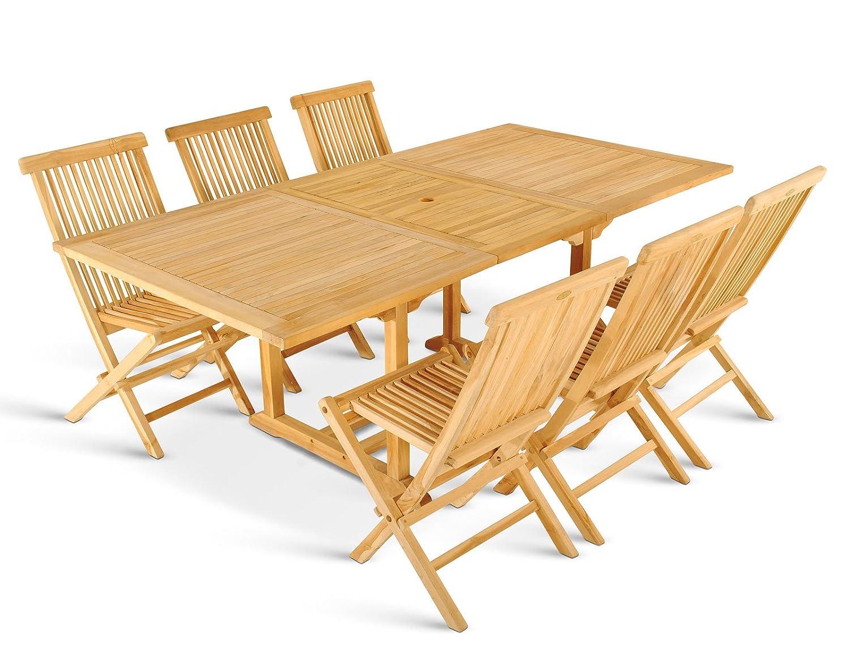 SAM® Teak Holz Gartengruppe, Gartenmöbel 7tlg., bestehend aus 1 x Tisch Caracas + 6 x Klappstuhl Menorca, zusammenklappbare Stühle, leicht zu verstauen