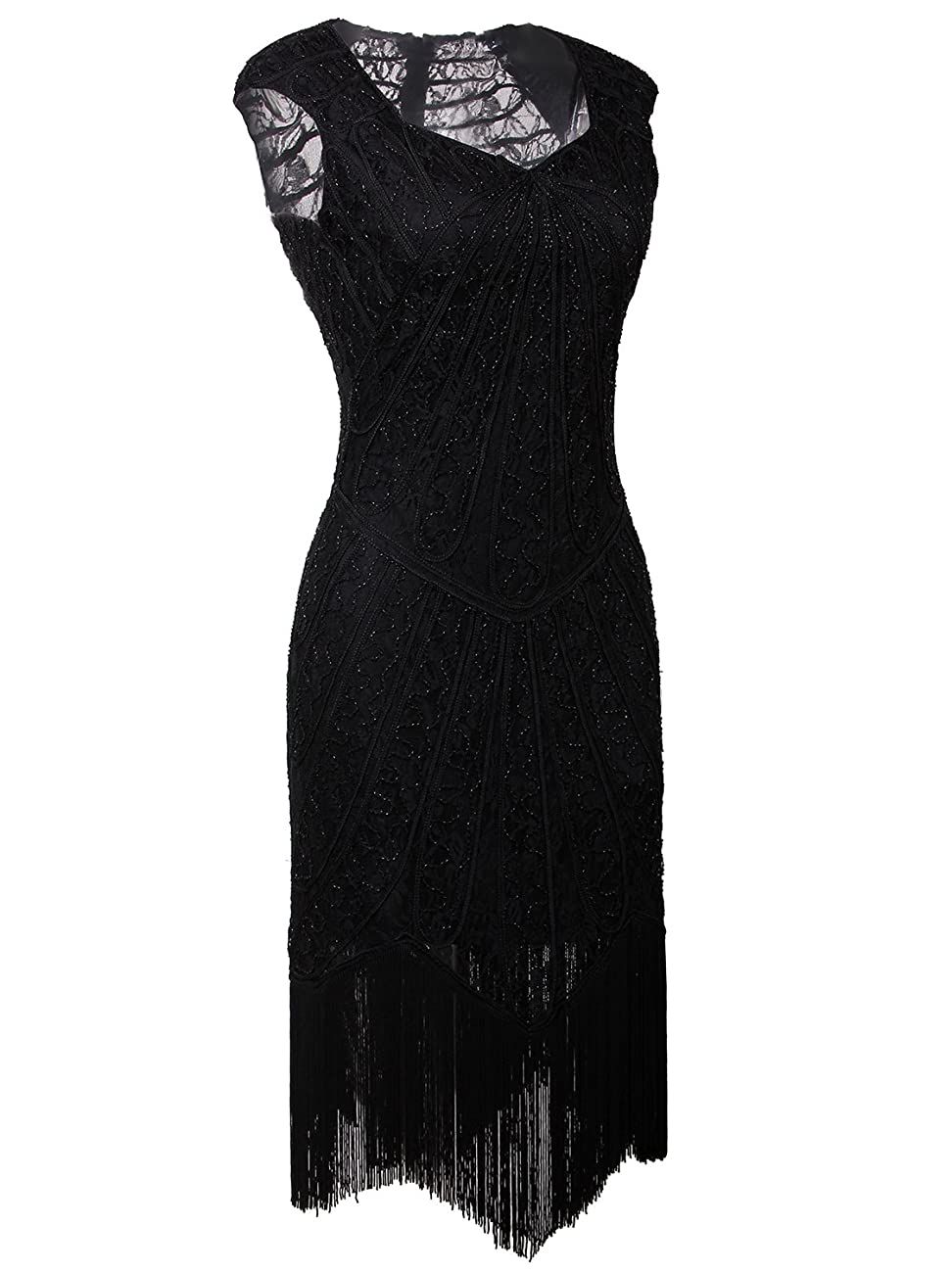 Vijiv Vintage 1920s Inspired Embellished Beaded Lace Cocktail Flapper Dress 1