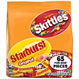 Skittles and Starburst Original Halloween Candy Bag, 65 Fun Size Pieces, 31.9 ounces