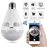 Light Bulb Camera – Bysameyee Wi-Fi Wireless Security IP Cam with Night Vision Remote Live View, 360 Degree Panoramic Fisheye Lens LED Bulb Camera for Home Office Security Monitoring