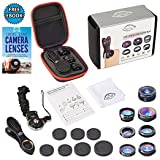 7 in 1 Clip On Camera Lens Kit By Ideal Lenz | Cell Phone Camera Kit For iPhone, Samsung Galaxy & Most Smartphones & Tablets | Telephoto, Fish Eye, Wide Angle, Macro, CPL, Kaleidoscope & X-Wide Lens (Color: Black)