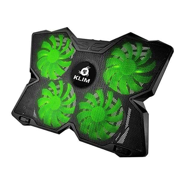 ?? KLIM Wind Laptop Cooling Pad - Support 11 to 19 Inches Laptops, PS4 - [ 4 Fans ] - Light, Quiet Rapid Cooling Action - Ergonomic Ventilated Support - Gamer USB Slim Portable PC Gaming Stand (Green) (Color: Green)