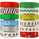 JACK CHLOE Ribbon for Christmas, 72Yards 3/8'' Grosgrain Satin Fabric Ribbons for Crafts Decoration Holiday Season Box Gift Wrapping, 12 Rolls Christmas Ribbons for Craft (Color: 12 Colors)