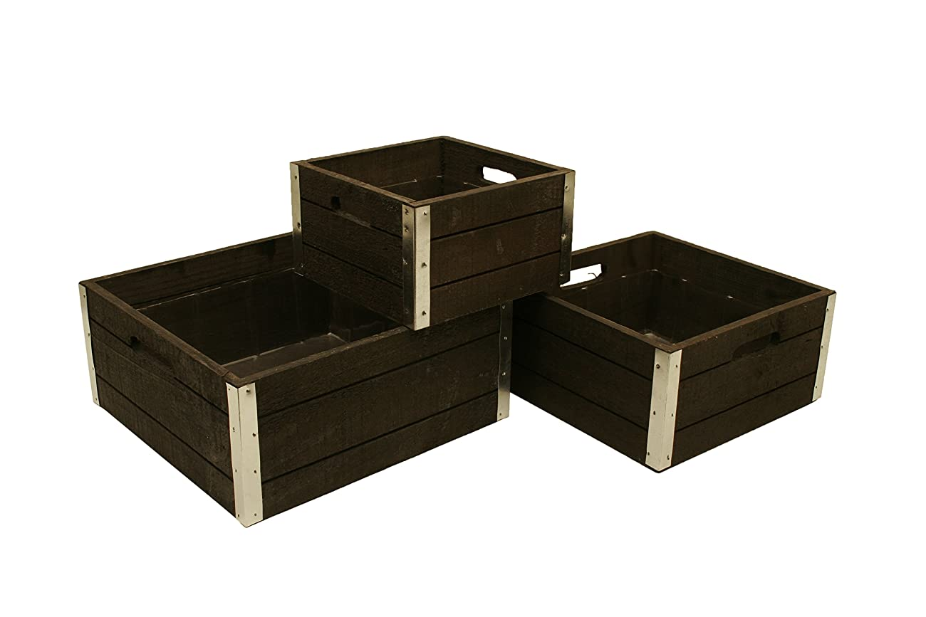 Wald Imports Set of 3 Wood Crates with Galvanized Metal Trim, Gray 0