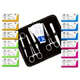 NEW 22 Pack (12 Pcs) Mixed Training Suture Threads with Needle Plus (10 Pcs) Tools for Students Suture Kit, Practice Suturing with Suture Pads; Veterinary Use; Medical, Biology and Anatomy Classes