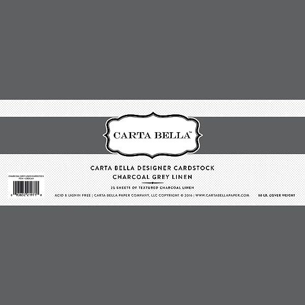 Carta Bella Paper Company CBDC601 Charcoal Grey Linen Cardstock, 80 lb