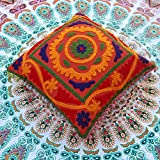 Home Decorative Embroidered Suzani Cushion Cover 16x16'' Indian Pillow Case With Pom Pom Lace