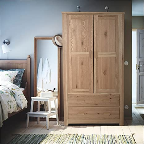 Homebase Constable Oak 2 door 2 Drawer Wardrobe Bedroom Storage Furniture Solutions Rrp £599.99 Less Than Half Price H: 190 W: 107 D: 57cm